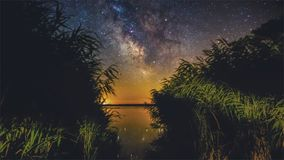 Milkyway from windmill reeds stock photography