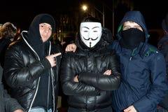 Millón de máscaras marzo en Londres foto de archivo