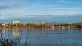冻Mill湖看法在BC Abbotsford 免版税库存图片