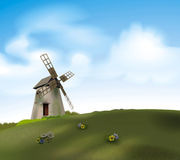 Mill. Detailed illustration of a windmill on a meadow stock illustration