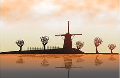 Mill. Ashore lake by an autumn evening. Raster illustration Stock Photo