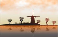 Mill. Ashore lake by an autumn evening. Raster illustration Stock Illustration