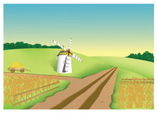 Mill. Farm. Large field with a wheat, mill and cart Vector Illustration