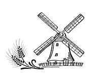 Mill. Decorative elements - a mill with spikes stock illustration