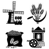 Mill. Set of images of grain processing. Vector stereotyped icons Royalty Free Stock Images