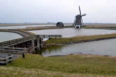 Mill along the Lancaster deen on Texel. Stock Image