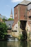 Mill of Arenberg and its waterwheel,Rebecq, Belgium. 15th century Stock Photography