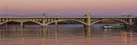 Mill Avenue Bridges in Tempe. Mill Avenue Bridge across the Salt River in Tempe Arizona at sunset Royalty Free Stock Images
