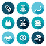 Mill and bread Icons Set. Vector Illustration Royalty Free Stock Photo