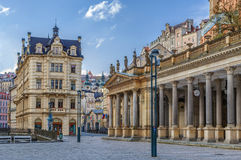 Mill Colonnade, Karlovy Vary. The Mill Colonnade is a large colonnade containing several hot springs in the spa town of Karlovy Vary.The Mill Colonnade is royalty free stock images