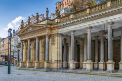 Mill Colonnade, Karlovy Vary. The Mill Colonnade is a large colonnade containing several hot springs in the spa town of Karlovy Vary.The Mill Colonnade is stock photos