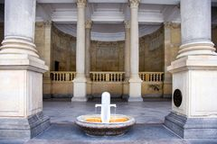 Mill colonnade in spa town Karlovy Vary, West Bohemia, Czech republic. KARLOVY VARY, CZECH REPUBLIC - SEPT 6, 2014: Mill colonnade in spa town Karlovy Vary Royalty Free Stock Photos