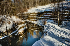 Mill Creek ravine, Edmonton, Alberta, Canada. Mill creek ravine  in winter with open water due to winter thaw Stock Images