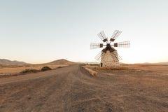 Mill in the desert of Fuerteventura, Spain Stock Photography