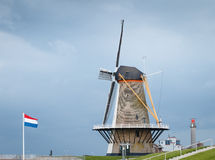 Mill on the dike in the Netherlands Royalty Free Stock Photos