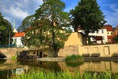 Mill ditch (Czech: Mlýnská strouha), Old architecture, Pilsen, Czech Republic Royalty Free Stock Photos