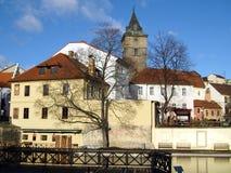 Mill ditch. In Pilsen in winter Stock Photo