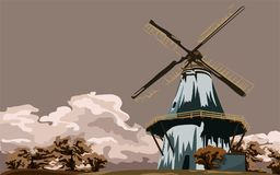 Mill. The mill is on an elevation surrounded by trees, against a background of clouds royalty free illustration