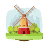 Mill farm on nature landscape vector illustration, flat carton retro dutch windmill near forest on city background Royalty Free Stock Images