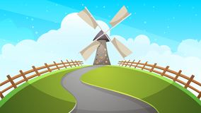 Mill, fence, road - cartoon illustration. Royalty Free Stock Photo
