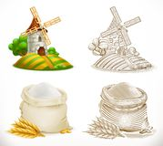 Mill and flour. Vector illustration stock illustration