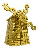 Mill of gold ingots. Symbol of success Vector Illustration