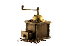 Mill & grain. Coffee beans & coffee mill & ground coffee isolated on white background Royalty Free Stock Photos
