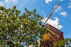 Mill on hill Montmartre among old trees against blue summer sky Royalty Free Stock Photos