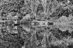Mill house. On Danube river, bw photo Royalty Free Stock Photography