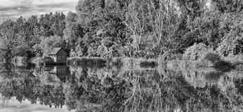 Mill house. On Danube river, bw photo Stock Photo