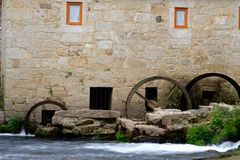 Tilt and shift lens mill-house. A mill-house detail in Vilar de Mouros place in Portugal with a tilt and shift lens stock images