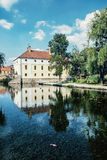 Mill house is mirroring in the water level of the lake, Tapolca, Royalty Free Stock Photos