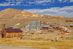 Mill and houses in Bodie State Historic Park Royalty Free Stock Photos
