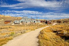 Mill and houses in Bodie State Historic Park Royalty Free Stock Images