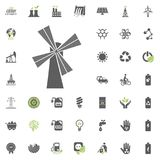 Mill icon. Eco and Alternative Energy vector icon set. Energy source electricity power resource set vector. Mill icon. Eco and Alternative Energy vector icon Stock Photos