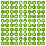 100 mill icons hexagon green. 100 mill icons set in green hexagon isolated vector illustration Stock Photo