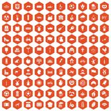 100 mill icons hexagon orange. 100 mill icons set in orange hexagon isolated vector illustration Stock Images