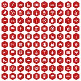 100 mill icons hexagon red. 100 mill icons set in red hexagon isolated vector illustration Vector Illustration