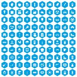 100 mill icons set blue. 100 mill icons set in blue hexagon isolated vector illustration Stock Illustration