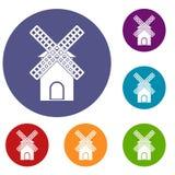 Mill icons set Royalty Free Stock Photos