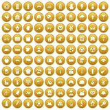 100 mill icons set gold. 100 mill icons set in gold circle isolated on white vector illustration Royalty Free Illustration