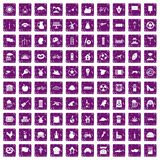 100 mill icons set grunge purple. 100 mill icons set in grunge style purple color isolated on white background vector illustration Royalty Free Stock Photo