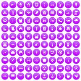 100 mill icons set purple. 100 mill icons set in purple circle isolated on white vector illustration Royalty Free Stock Image