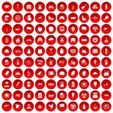 100 mill icons set red. 100 mill icons set in red circle on white vector illustration Stock Illustration