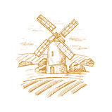 Mill and landscape. Vector hand drawn image of mill and landscape Royalty Free Stock Photos