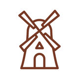 Mill line icon. Sign for production of bread and bakery. traditi. Onal agriculture building Stock Photos