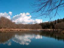 Mill Pond. Lake and cloud reflection on Fortson Mill Pond in Darrington, WA Stock Photos