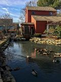 Mill Pond. Water wheel waterfall ducks scenic landscape Stock Photos