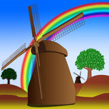 Mill with rainbow Stock Image