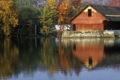 Mill on river in Autumn in VT Royalty Free Stock Photos
